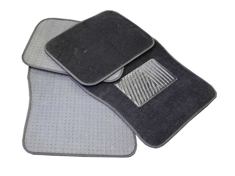 Universal Black Car Mats with Rubber Center
