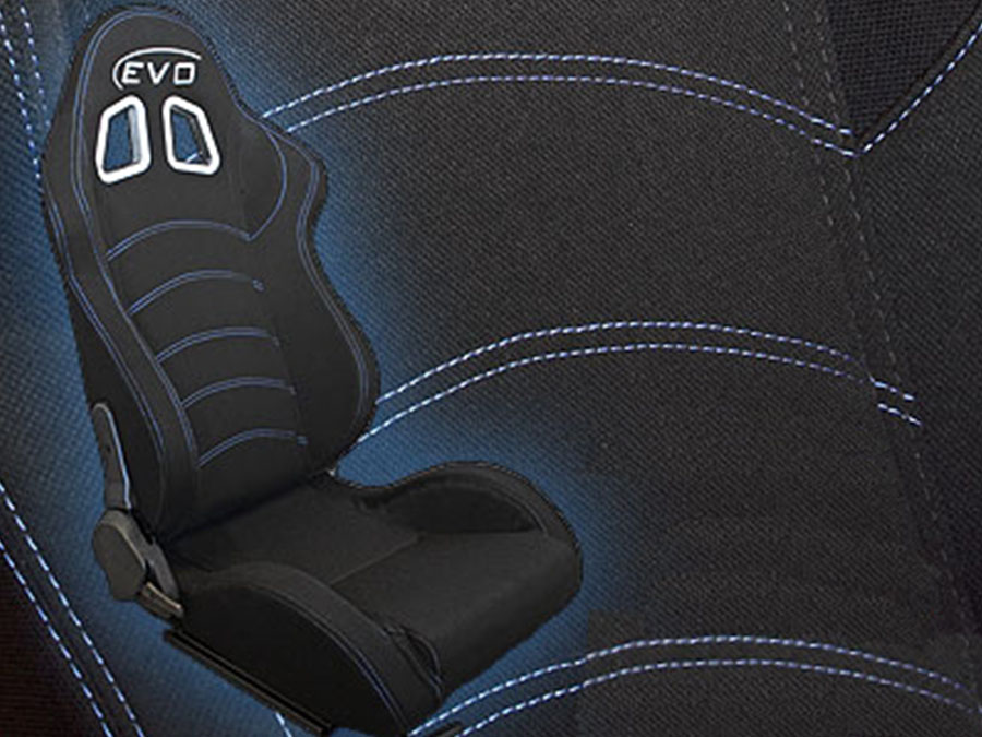 Evo Black & Blue Stitch Reclinable Racing Seat