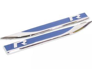 VW R-Line Blue & Chrome Side Fender Badges (pair)-0