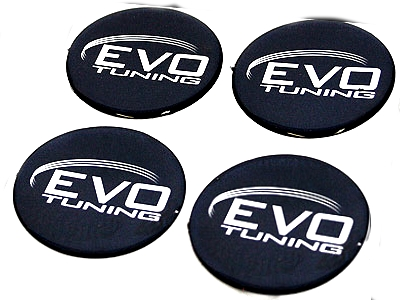 Evo Tuning Black & Silver Wheel Center Cap Decals