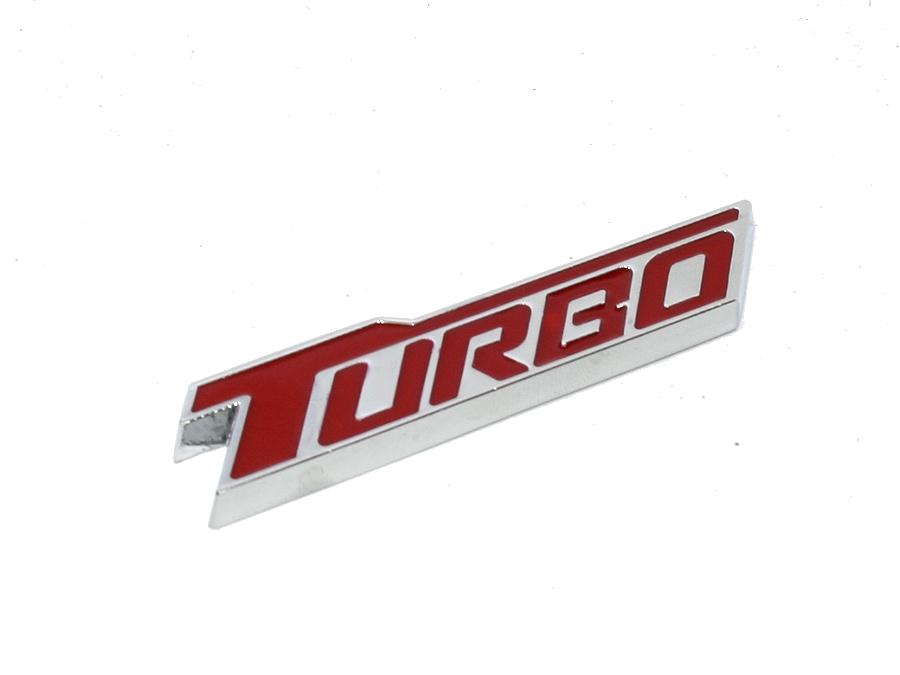 Turbo Red & Chrome Sticker Badge (7x2cm)