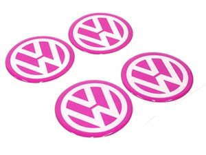 Pink VW Wheel Center Cap Stickers-0