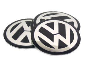 VW Black & Chrome Wheel Decals 55mm (set of 4)-0