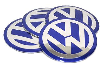 VW Blue & Chrome Wheel Decals 55mm (set of 4)