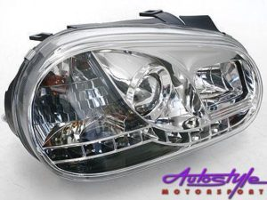 Vw Golf Mk4 Chrome Headlights with LED driving Lig-0
