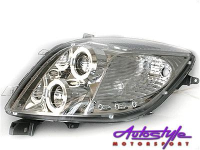 Toyota Yaris Angel Eye Headlights Chrome