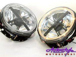 Golf 1 Chrome Angeleye Headlights With Cross-0
