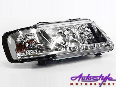 A3 96-00 DRL Chrome Headlight