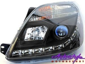 Ford Fiesta MK3 DRL Black Headlights-0