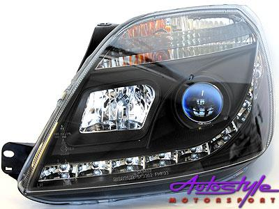 Ford Fiesta MK3 DRL Black Headlights