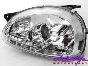 Corsa 96-02 DRL Chrome Headlights-0