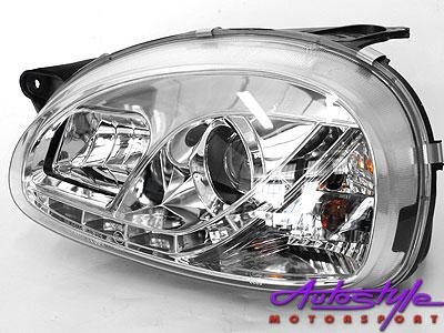 Corsa 96-02 DRL Chrome Headlights