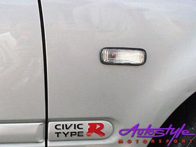 Honda Civic / Ballade Clear White Side Fender Indicators (set)