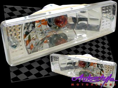 Mazda 323 Front Bumper Indicator Units (chrome finish)