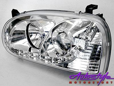 Golf Mk3 Chrome Headlights with LED driving Lights