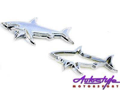 Chrome Shark Sticker Badge-0