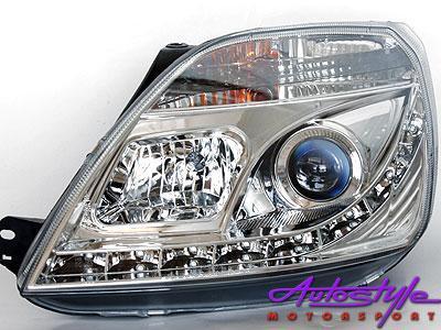 Ford Fiesta MK3 DRL Chrome Headlights