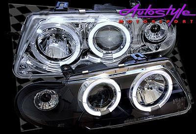 Astra Angel Eye Chrome Headlights 92-95