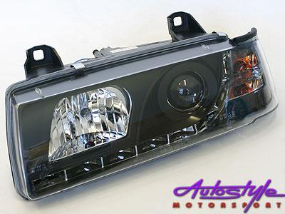 Suitable for E36 Black Headlightswith Driving Ligh