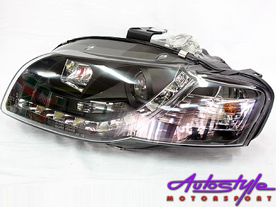 Audi A4 2005up Black Headlights with LED driving