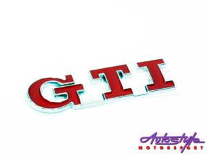 Gti Red and Chrome Sticker Badge-0