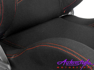 Evo Black & Red Stitch Reclinable Racing Seat-11657