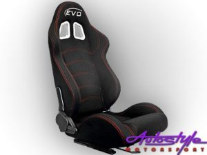Evo Black & Red Stitch Reclinable Racing Seat-0