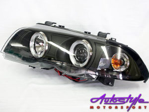 Suitable for E46 '98-01 Angel Eye Smoke Headlight-0
