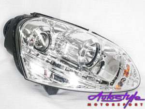 Golf Mk5 Chrome DRL Headlights with LED Driving Lights-0