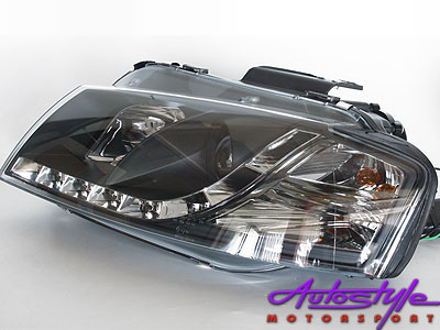 Audi A3 DRL Black Headlights 03-08 Model