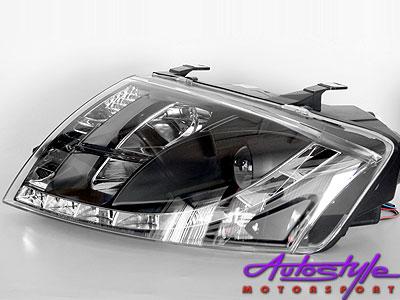 Audi TT 99 -06 Black DRL Headlights with Motor