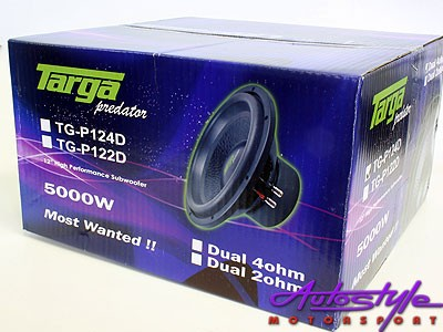 "Targa TG-P124D 12"" 5000w Dvc Subwoofer -9943"