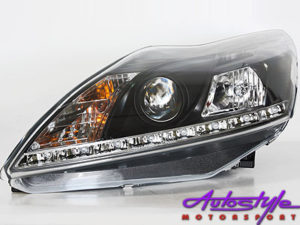 Ford Focus 09 + Black DRL Headlights -0