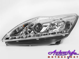 Ford Focus 09 + Chrome DRL Headlights -0