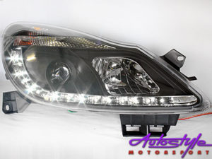 Opel Corsa 11+ Smoked Led DRL Headlights-0