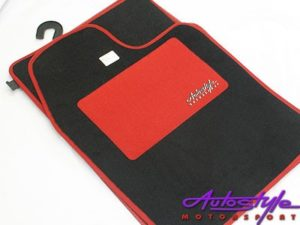 Autostyle Red Padded Car Mats (set of 4)-0