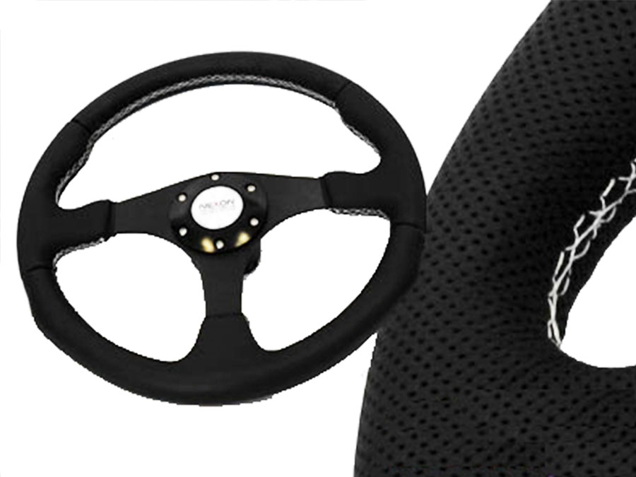 White Stitch Black Steering Wheel 340mm