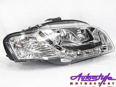 Audi A4 B7 2005 Chrome LED DRL Headlights
