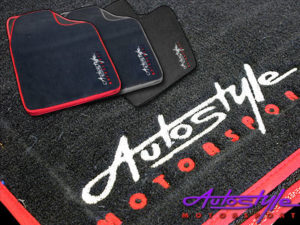 Autostyle Velour Black & Red Floor Mats-0