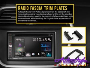 Universal Double Din Fascia Trim Plate with Bracket - Autostyle