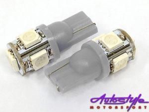 T10 5LED Wedge Parklight Bulbs (white) -0