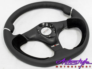 NX Genuine Leather & Suede Sports Steering wheel -0