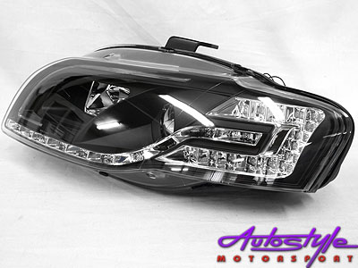Audi A4 2004 Tube Style DRL Headlamps (black)