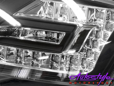 Audi A4 2004 Tube Style DRL Headlamps (black)-15495