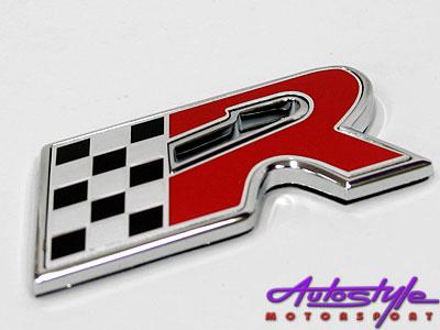VW R-Line Logo Black, Red & Chrome Sticker Badge-0