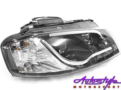 Audi A3  (2003) LED Type Style DRL Headlights (black)