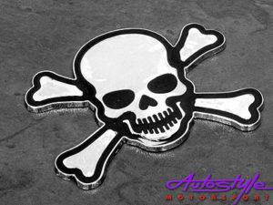Skull and Bones Chrome Sticker Badge-0