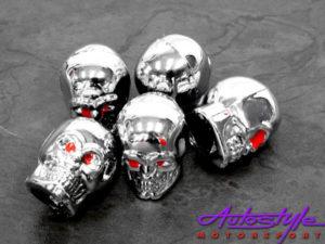 Chrome Skulls Look Wheel Valve Caps-0