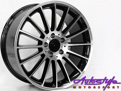 "18"" SSQ A45 Black & Silver 5/112 Alloy Wheels-0"