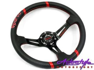 Sparco Black Leather Sport Steering-0